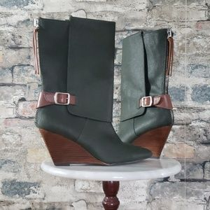 ANTHROPOLOGIE Green Waxed Canvas Wedge Boot 8